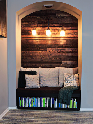 DIY Reading Nook WIth Wood Plank Wall