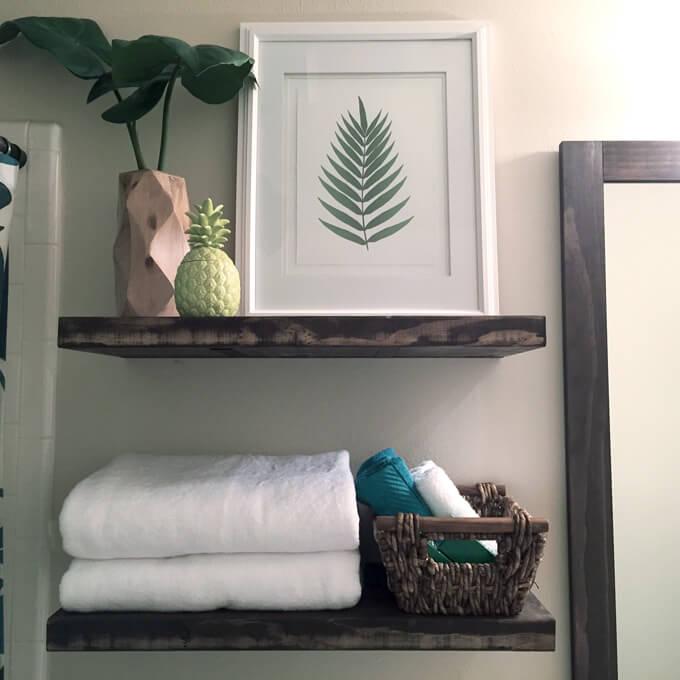 Floating Shelves In Guest Bathroom